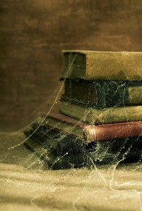 Cobwebs on books